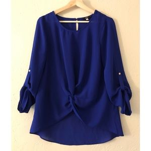 Royal Blue Blouse with Tied 3/4 Sleeves